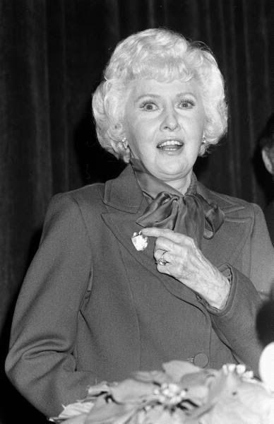 Barbara Stanwyck accepting the Golden Apple Award, 1983
