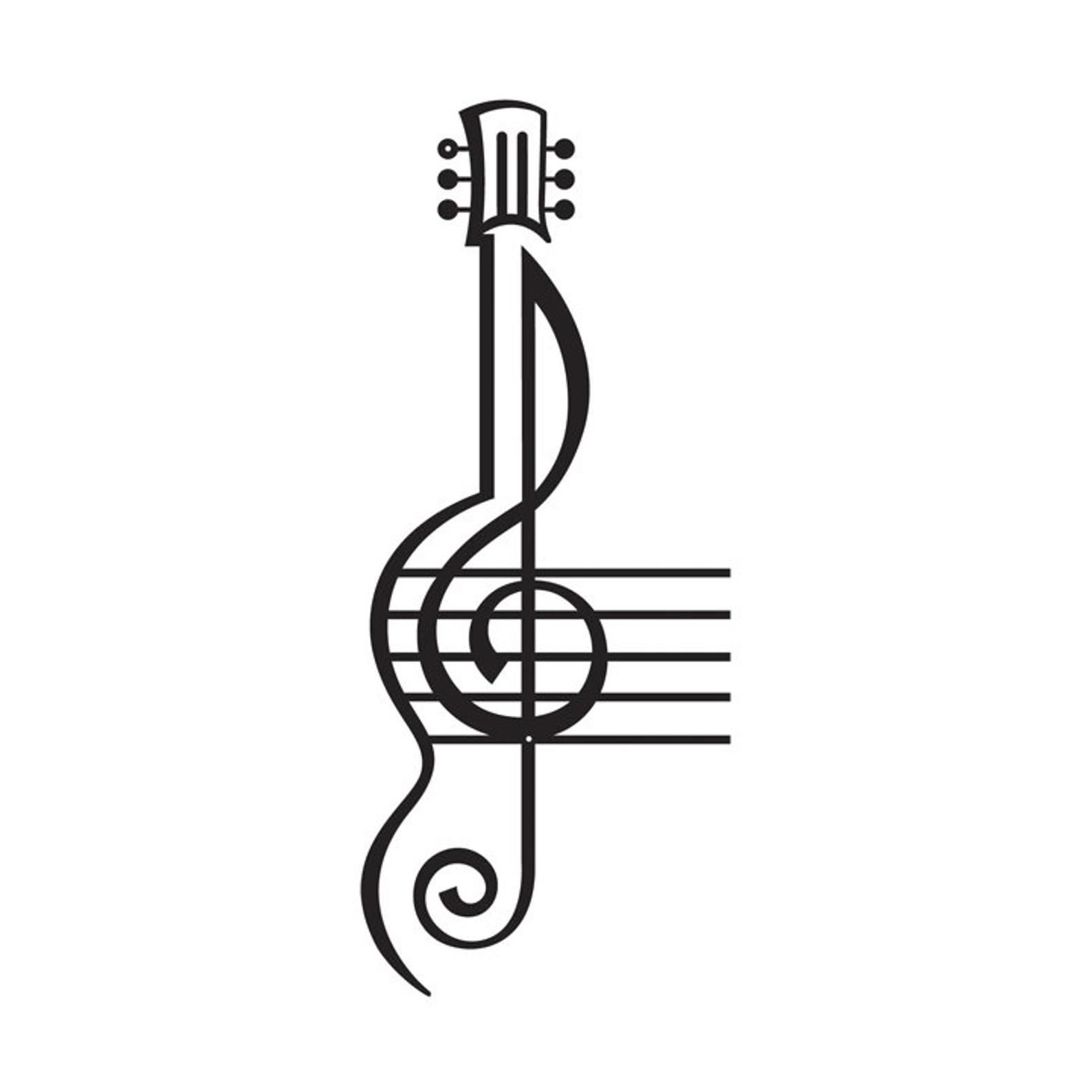 Treble Clef And Staff With Guitar Metal Sign