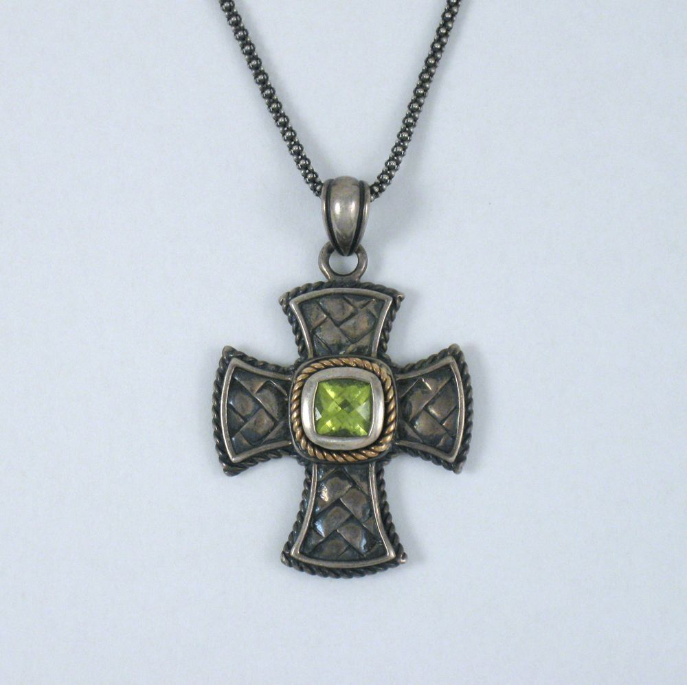 Details about fine sterling silver 14k gold peridot cross details about fine sterling silver 14k gold peridot cross pendant necklace designer signed mozeypictures Image collections