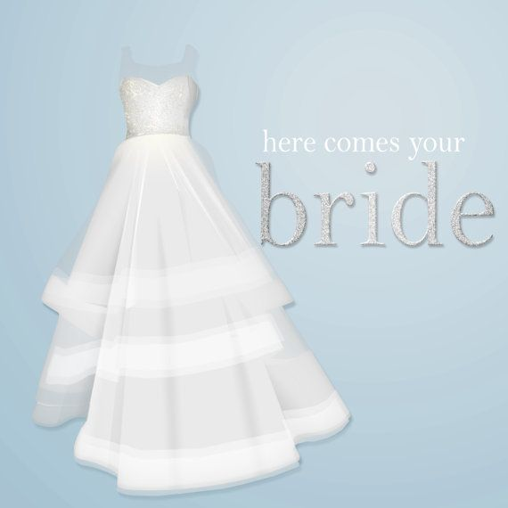 Wedding Gown Clip Art: Commercial Use Instant Download Wedding Dresses Clip Art