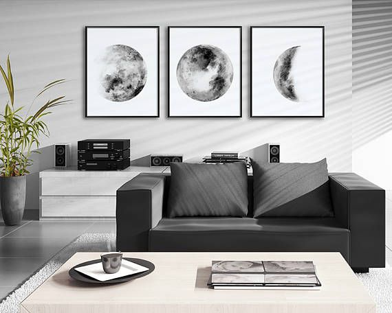 Moon phases watercolor art prints set of 3 black and white lunar phases prints moon chart posters housewarming gift