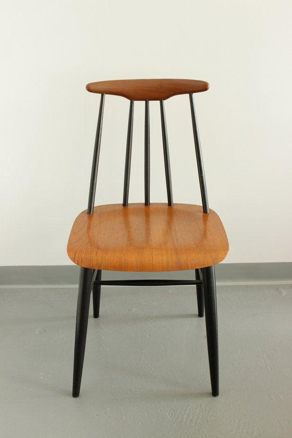 Vintage Black Spindle And Teak Modern Shaker Style Dining Pia Chair, Made  By Sandvik Mobler Sweden. Teak Backrest And Bent Ply Seat.