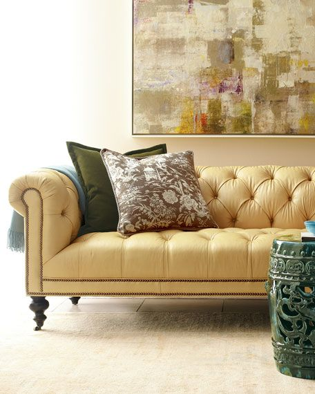 Old Hickory Tannery Lenoir Yellow Sofa: Morgan Sunshine Leather Chesterfield Sofa