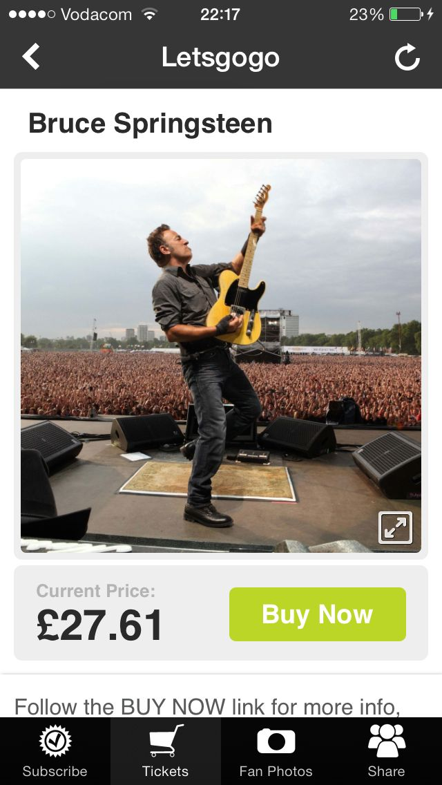 We've added tickets for BruceSpringsteen USA tour to our