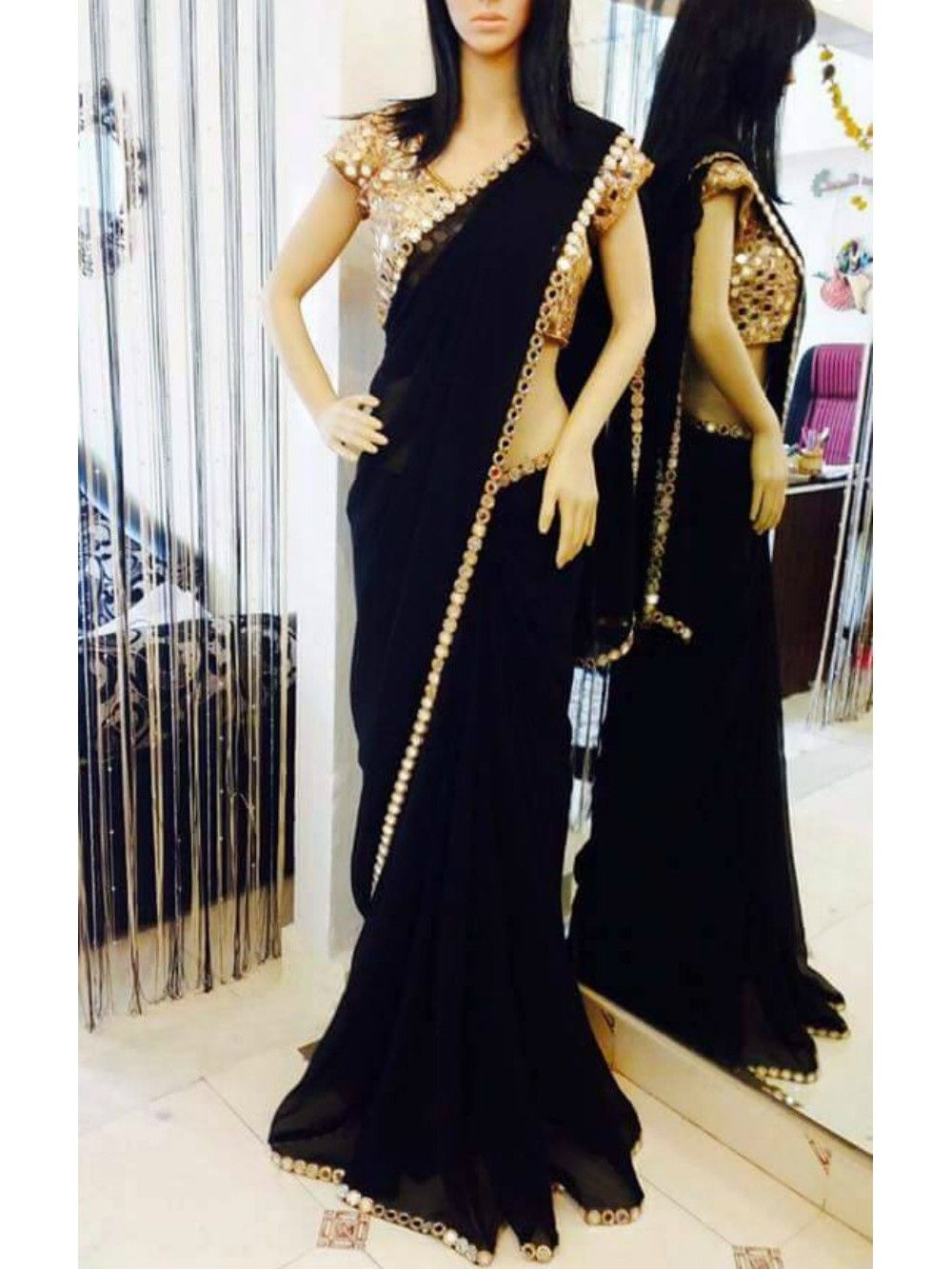 Black georgette saree with real mirror work and real for Mirror work saree