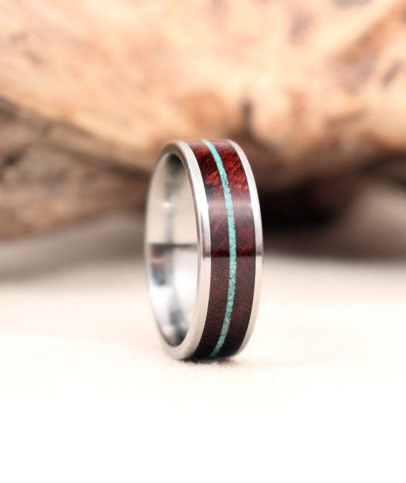 titanium wedding ring Titanium wedding band lined with Arizona Ironwood wooden wedding band