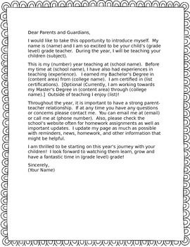 a letter template for you to fill in with your own information to introduce