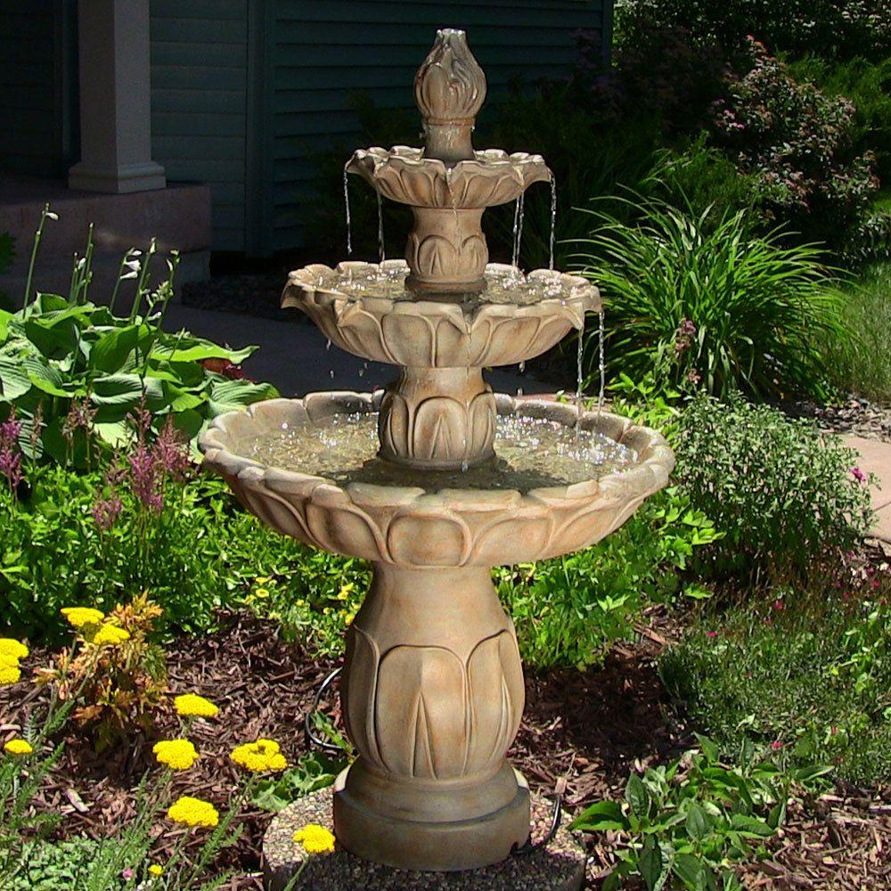 Sunnydaze Classic Tulip 3 Tiered Outdoor Water Fountain Garden Stone 46 Inch Tall Garden Water Fountains Garden Fountains Backyard Water Fountains