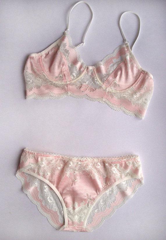 9b8d8095b78d Pink lingerie set Lace lingerie set Bridal lingerie Honeymoon lingerie  Holiday lingerie Sexy Sheer bra Holly bra Sheer panties Underwear set