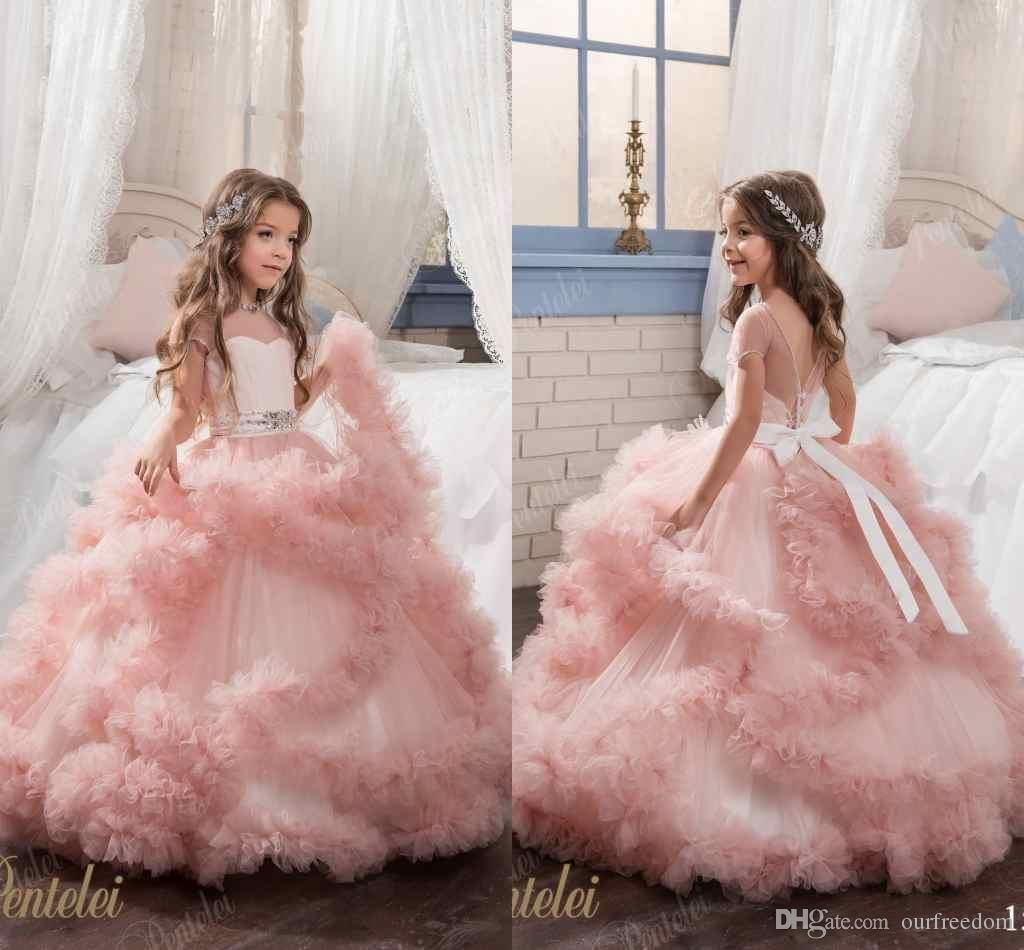 Little Girls Pentelei 2017 Sheer Jewel Neck Princess Ball Gown Kids ...