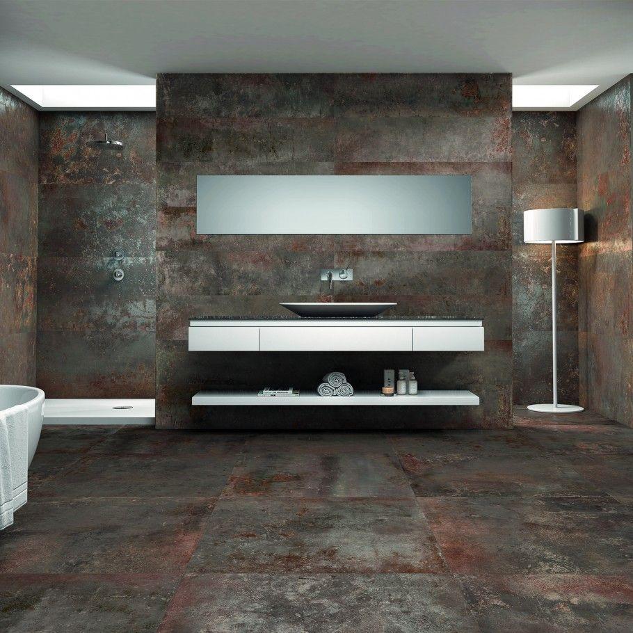 Twilight Oxide 12x48 Metal Look Polished Porcelain Tile In 2020 Metallic Tiles Bathroom Polished Porcelain Tiles Porcelain Tile Bathroom