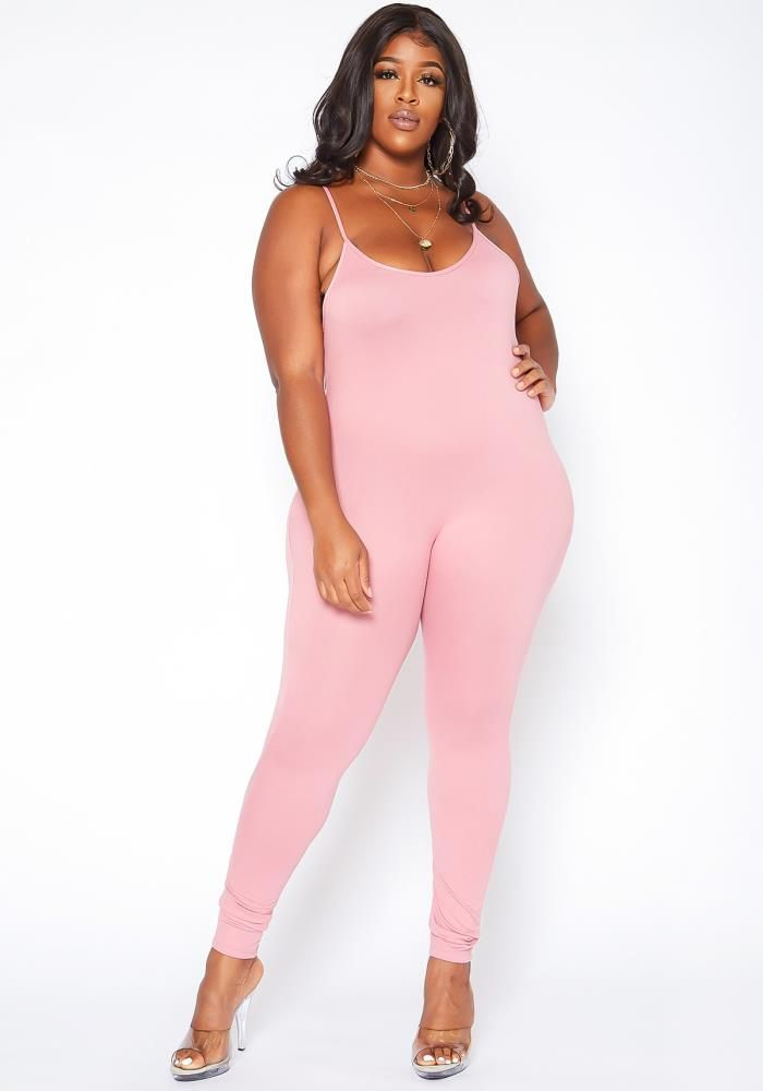 Plus size women's basic bodycon jumpsuit in v-neck style, cami shoulder straps and body hugging material.-High stretchModel Info