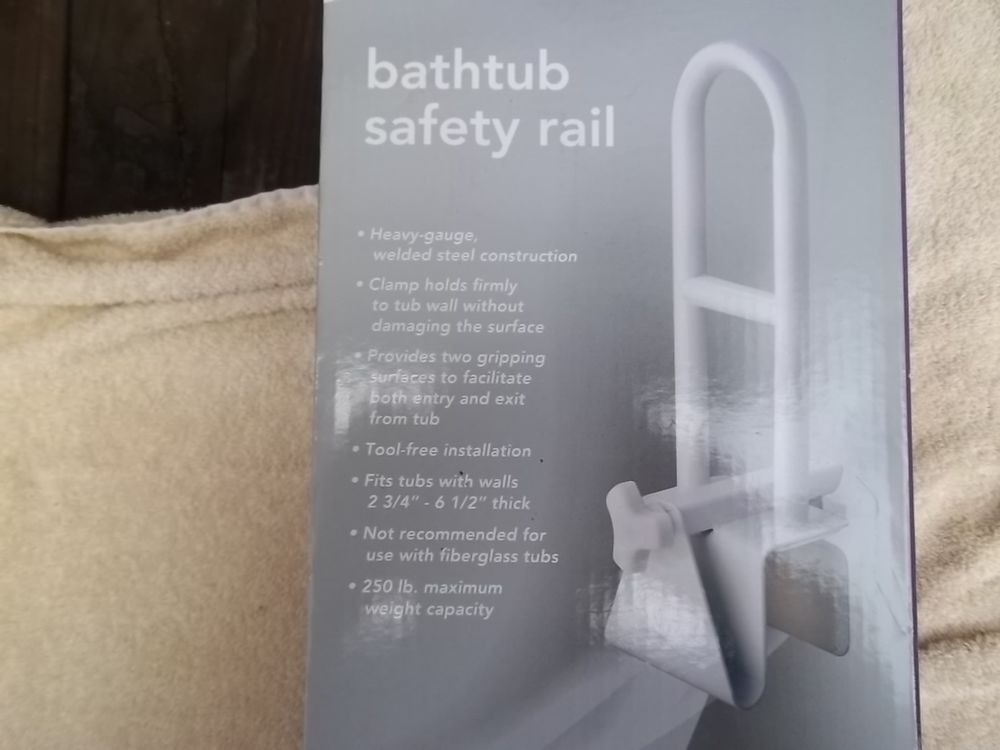 Bathtub safety rail by welby new in opened box 250lb max