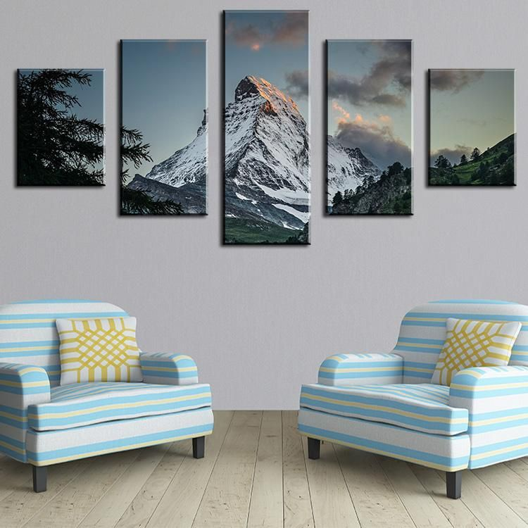 5 panel the winding path modern home wall decor canvas