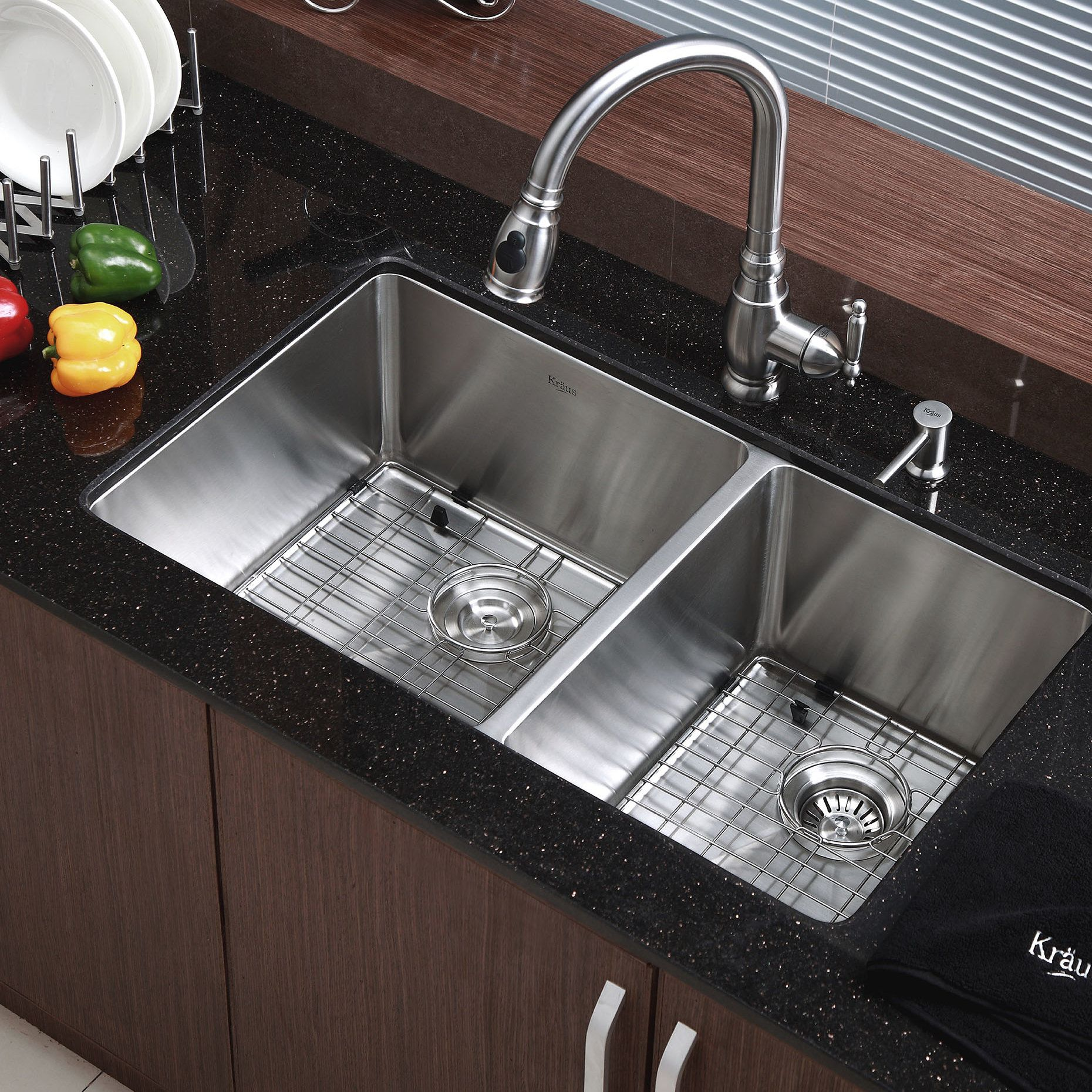 33 L X 19 W Double Basin Undermount Kitchen Sink With Drain