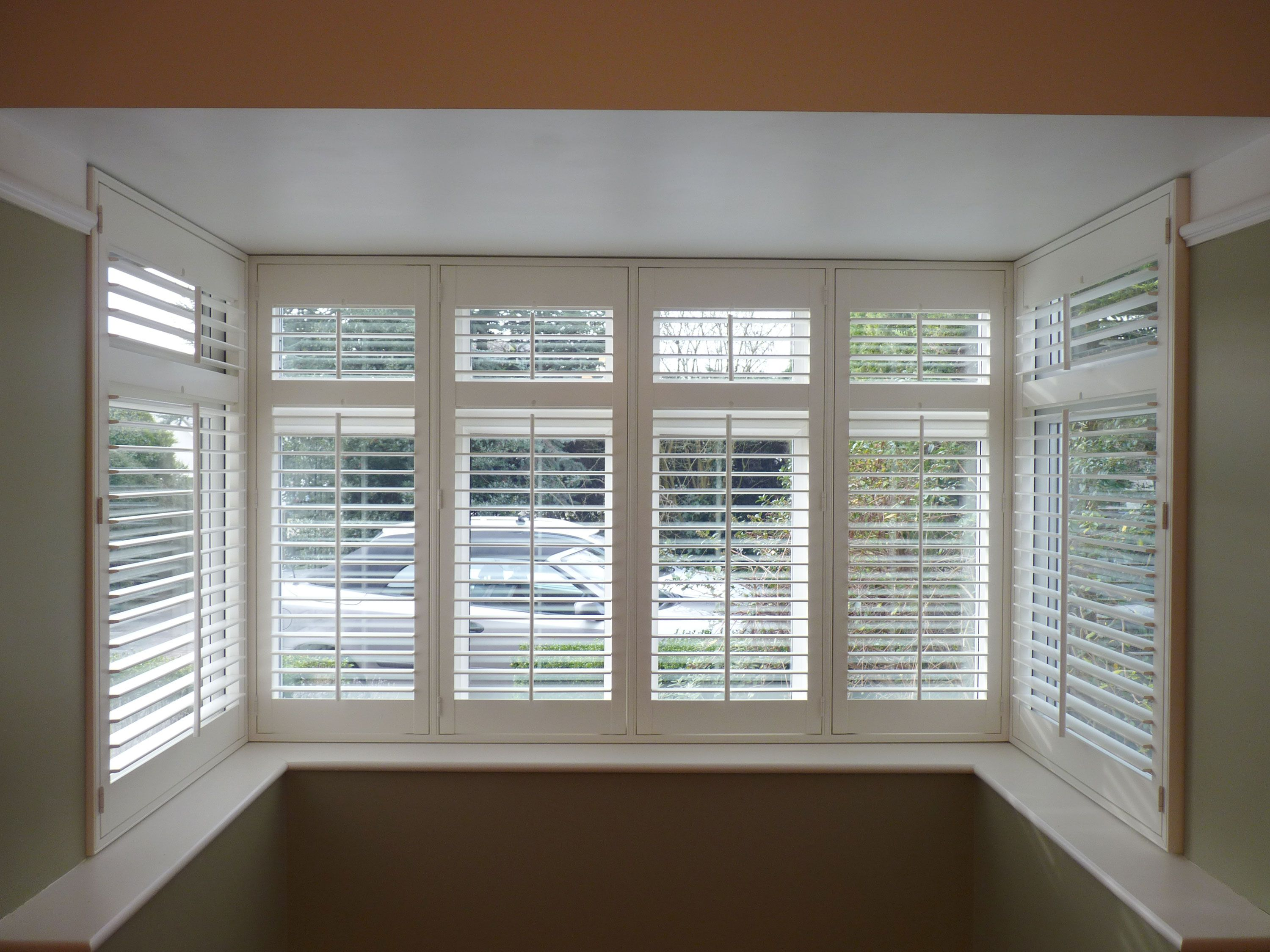 Shutters In A Square Bay Google Search Bay Window Blinds Bay Window Living Room Bay Window Shutters