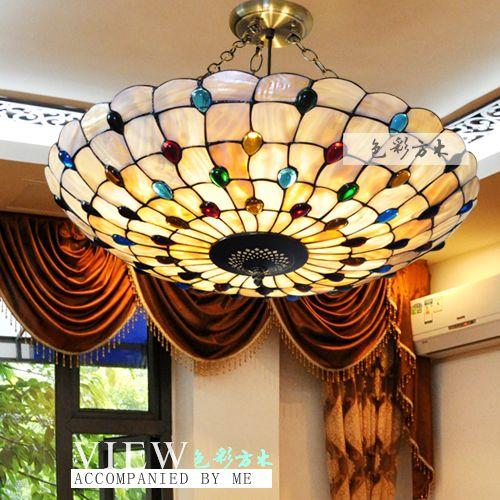 Tiffany Dining Room Lighting | ... Rustic Tiffany Lamp Shell Dining Room  Pendant Light