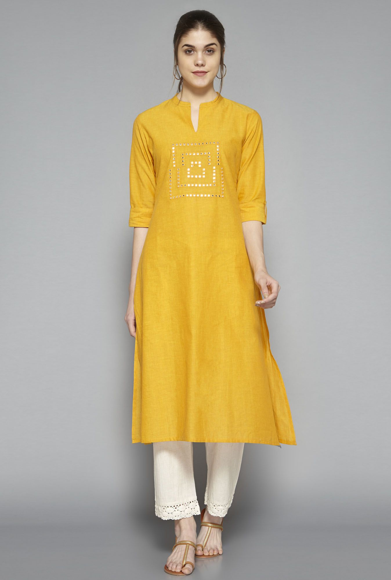 b912c246b7fe Shop Utsa by Westside Yellow Embellished Kurta for Women Online at best  price in India at Tata CLiQ. Choose your favourite Ethnic Wear Online & Get  free ...