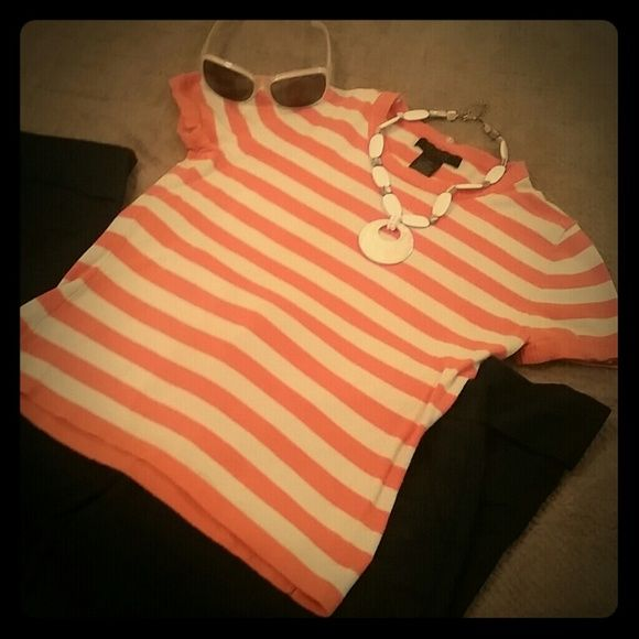 $5 Sale Orange and white striped top Stretch Cotton Spandex Nylon Material.  Short sleeves perfect summer accessory that could transition to fall as a layered piece The Limited Tops
