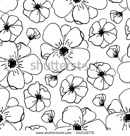 Modern Black And White Floral Pattern. Bloom Background Pattern ...