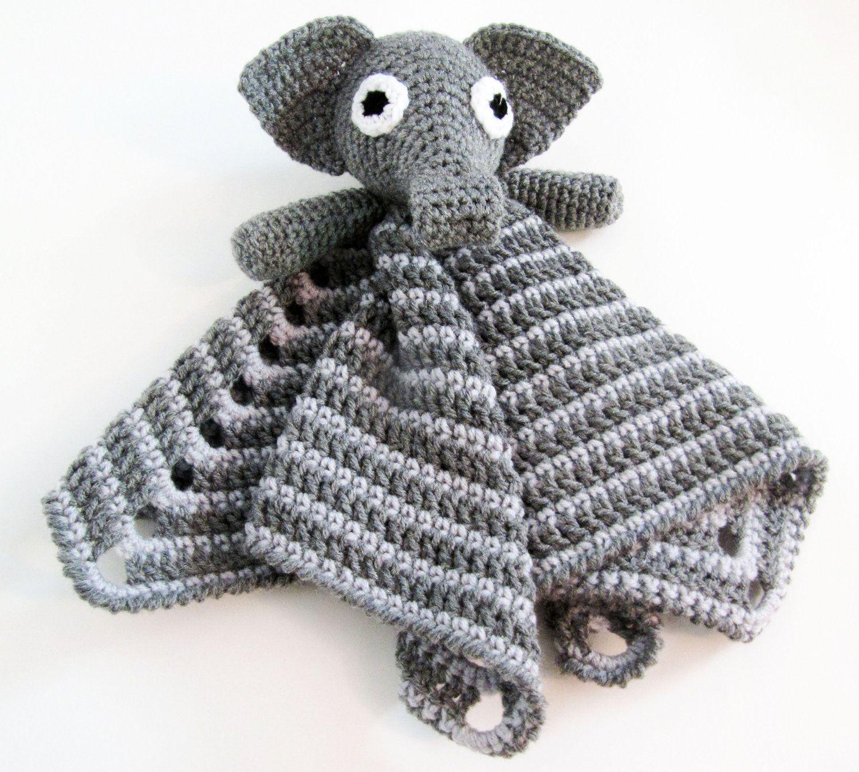 Elephant Lovey CROCHET PATTERN instant download - blankey, blankie ...
