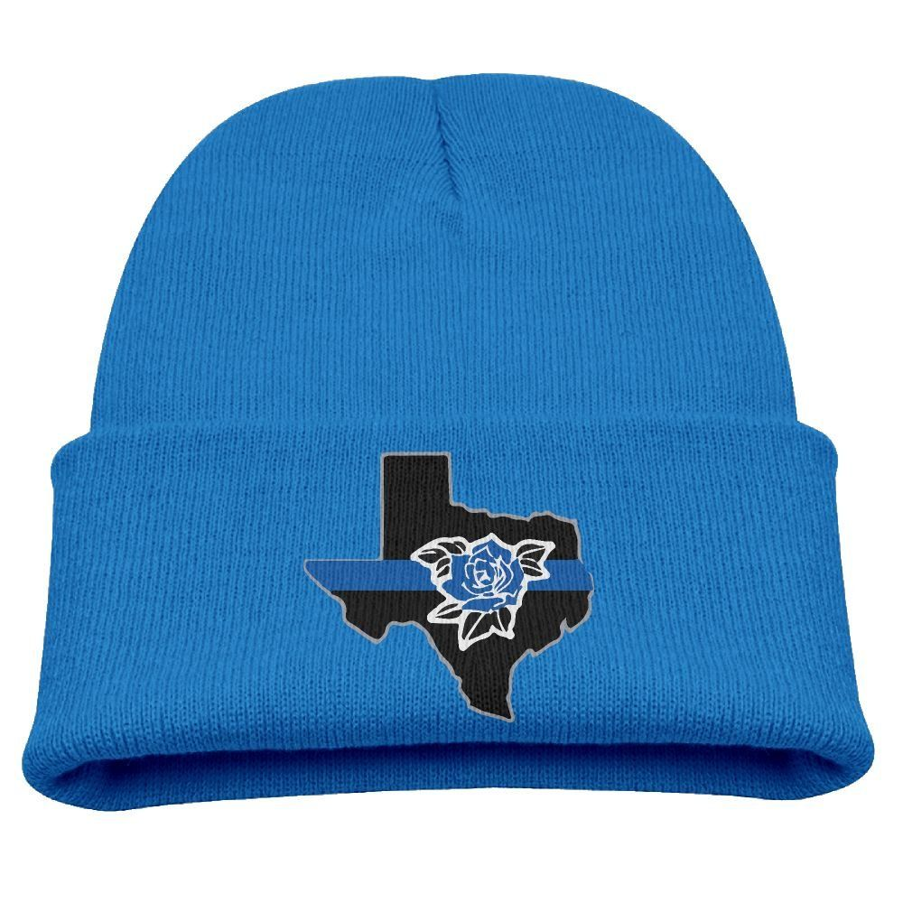 newest 0823a 0d19d Thin Blue Line State Of Texas With Rose Unisex Kids Warm Winter Hat Knit  Beanie Skull