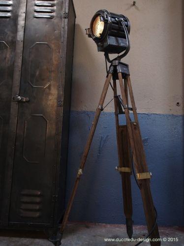Ancien projecteur cinema Pinwood Richardson an 40/50 trepied bois