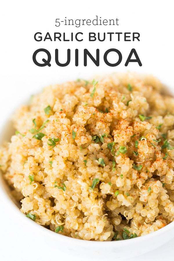 This delicious garlic butter quinoa recipe is one of the easiest recipes you'll ever make! It uses