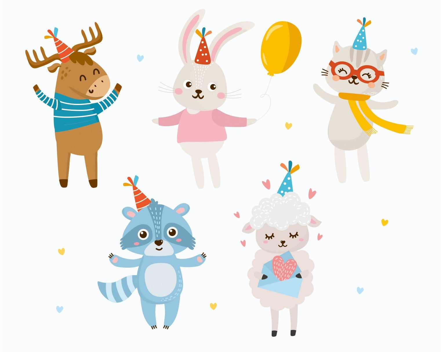Excited To Share The Latest Addition To My Etsy Shop Happy Birthday Animals Clipart Vector Illustrati Animal Clipart Happy Birthday Animals Animal Birthday