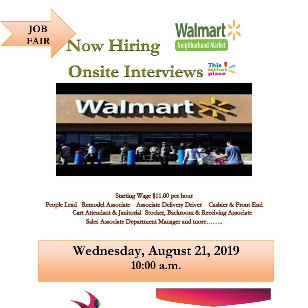 Walmart Job Fair Richmond Va 08 21 2019 10am 1pm See Flyer
