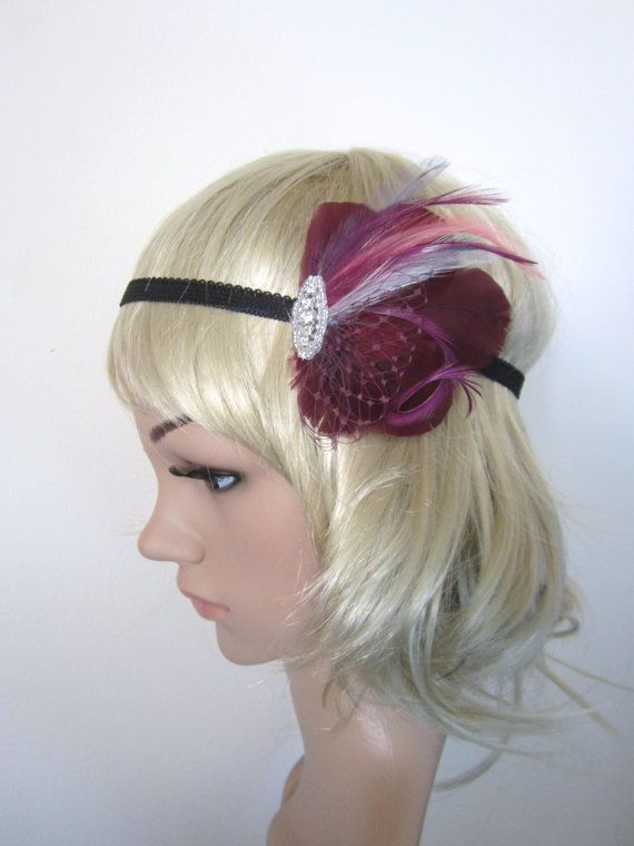 Sale was 35 now 25 Burgundy and purple feather and rhinestone flapper  headband fascinator 3e0866e530c