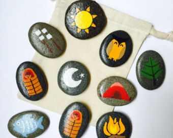 Camping Themed Story Stones / Storytelling Game / Waldorf Toy