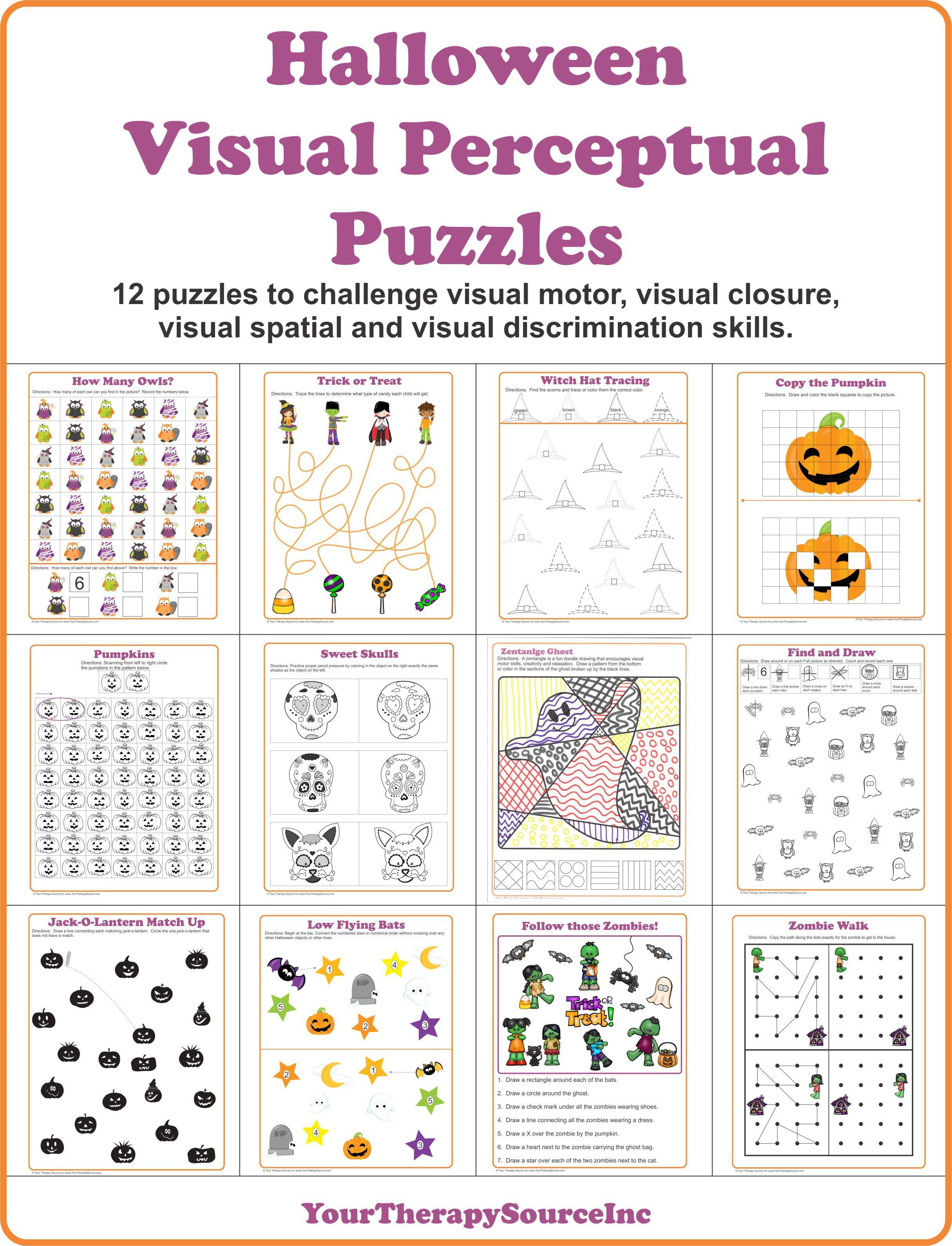 Halloween Visual Perceptual Puzzles Your Therapy Source Visual Perceptual Activities Visual Motor Activities Visual [ 3180 x 2430 Pixel ]