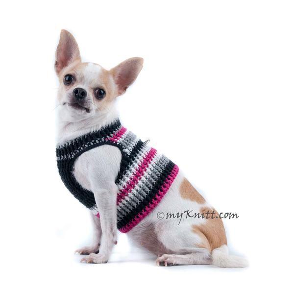 Black and Hot Pink Dog Harness Vest Soft Cotton Crochet DH68   Dog ...