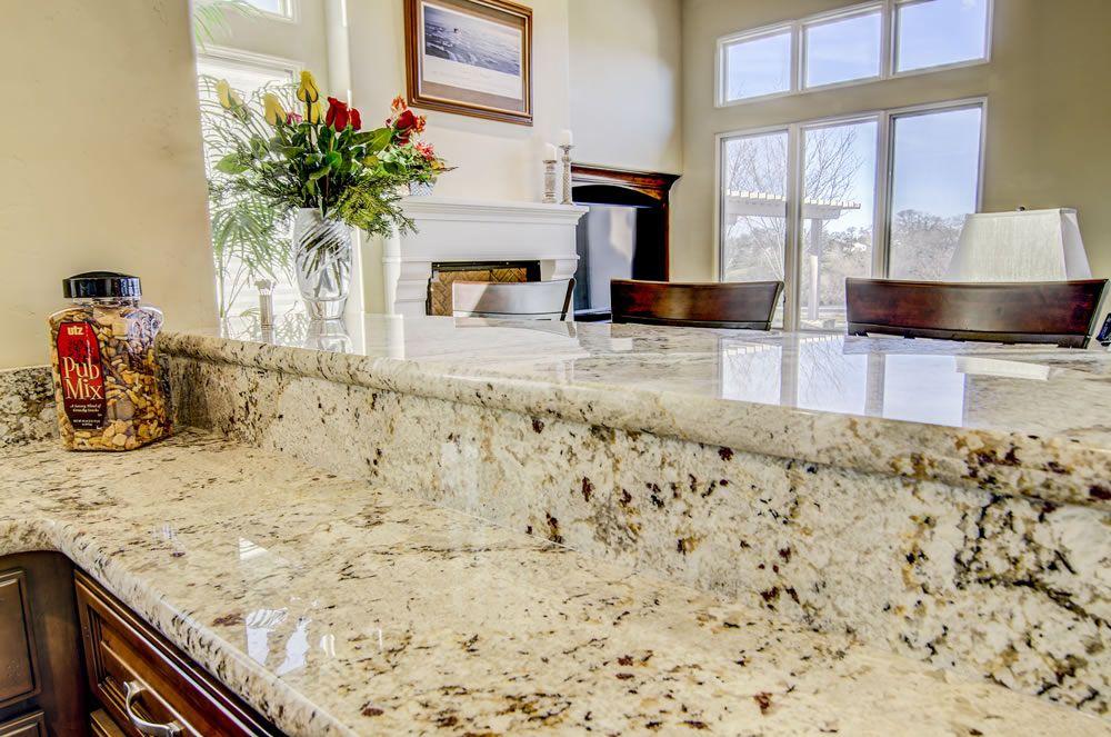 Snowfall Granite Raised Bar Stone Countertops Replacing Kitchen Countertops Granite Backsplash
