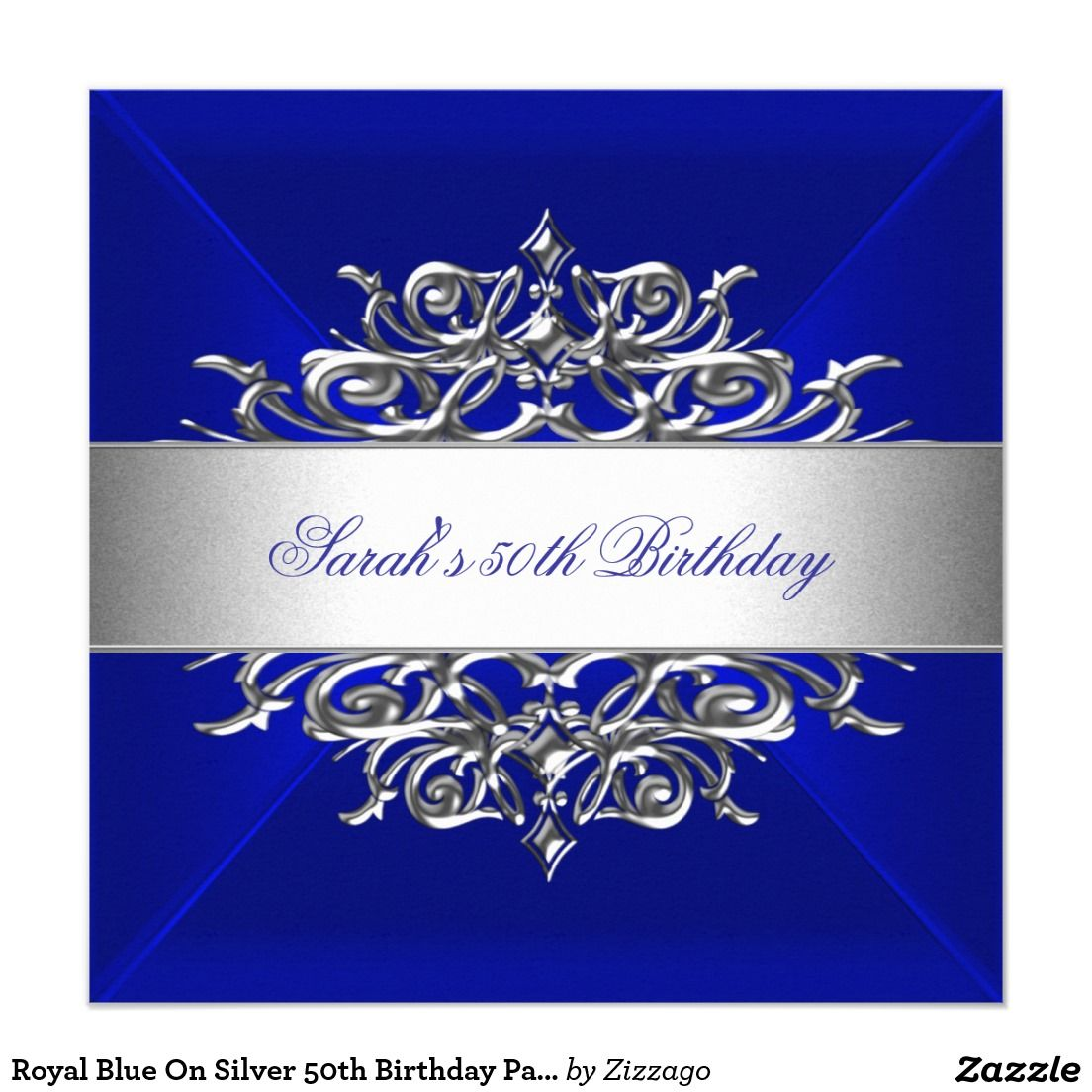 royal blue on silver 50th birthday party invitation party deco