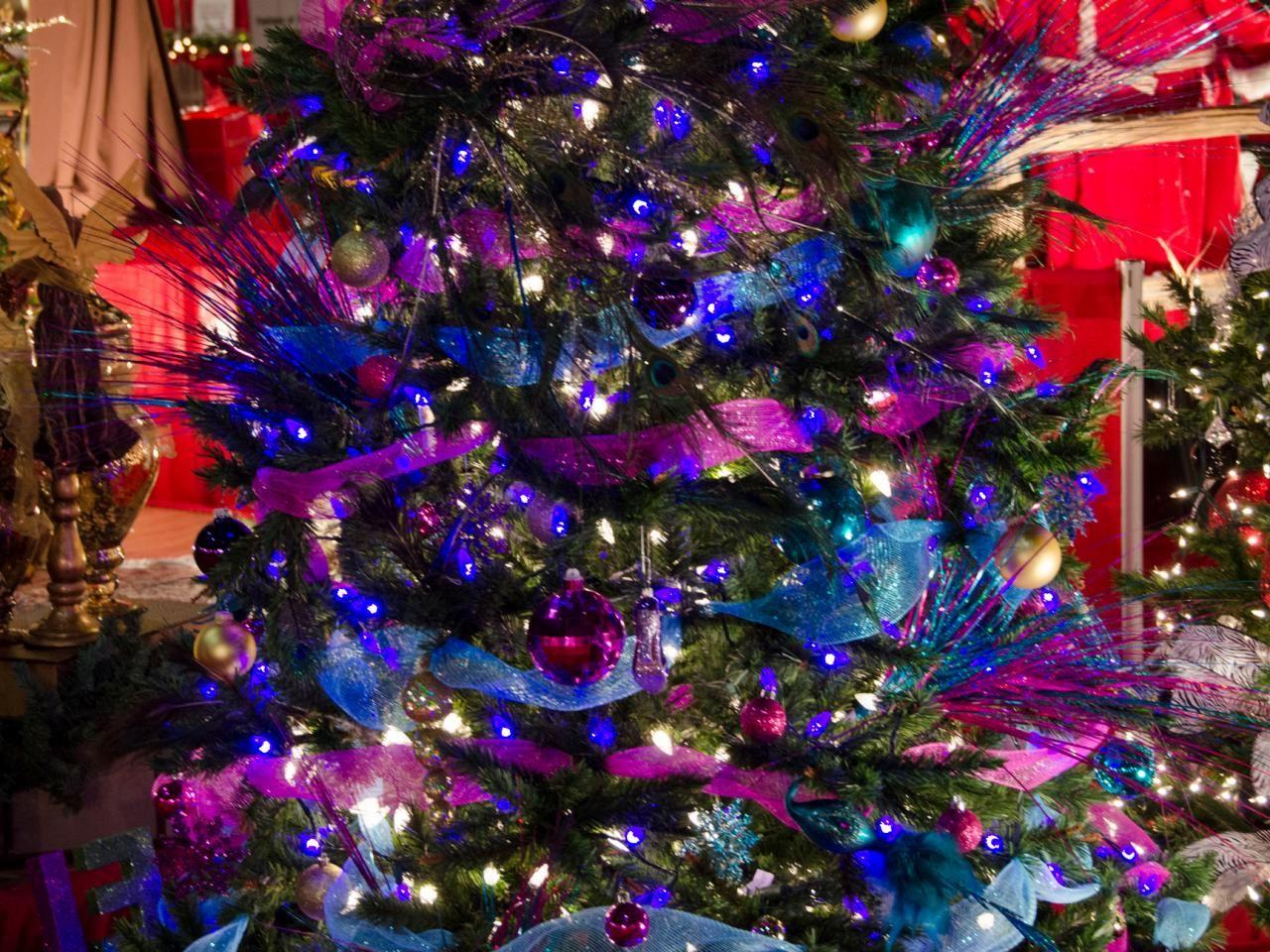 Christmas tree decorations purple - Colorful Christmas Trees