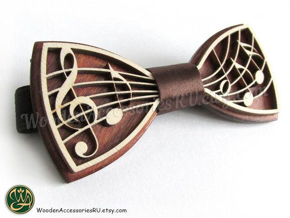 31ce54343d83 Wood bow tie Music wooden musical bowtie treble clef notes note artist show  hand made gift present w