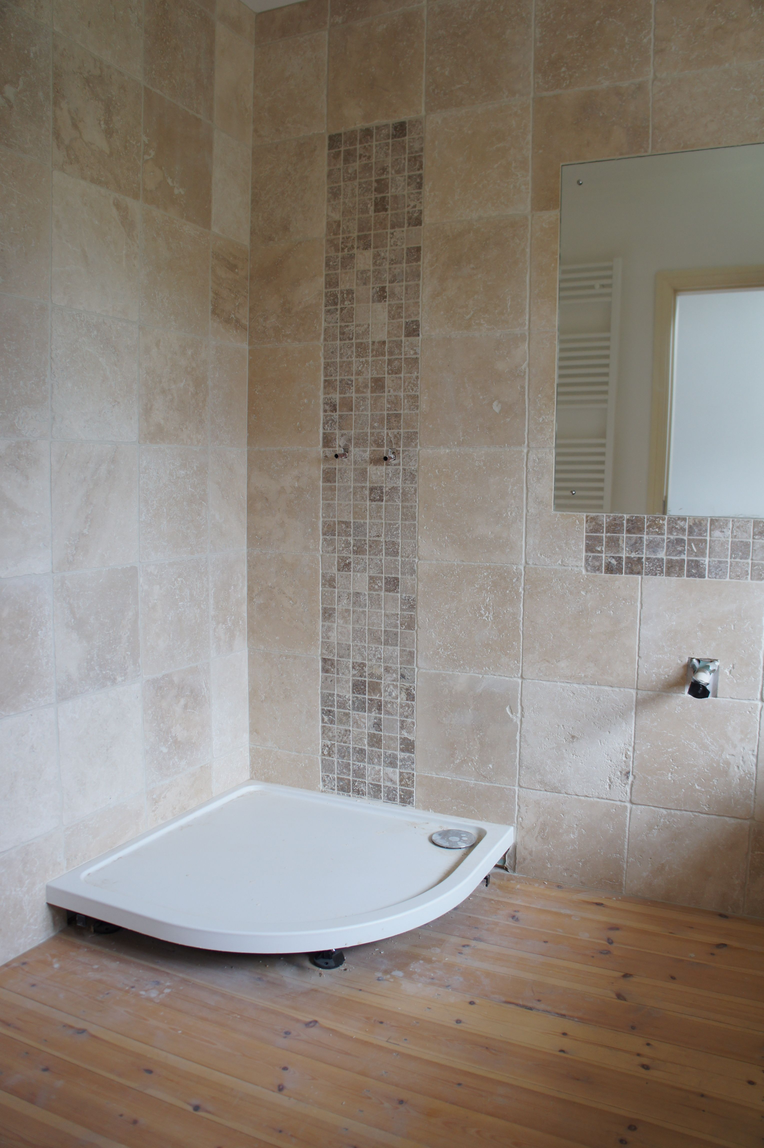 Nearly Finished This Bathroom Has Our Light Tumbled Travertine