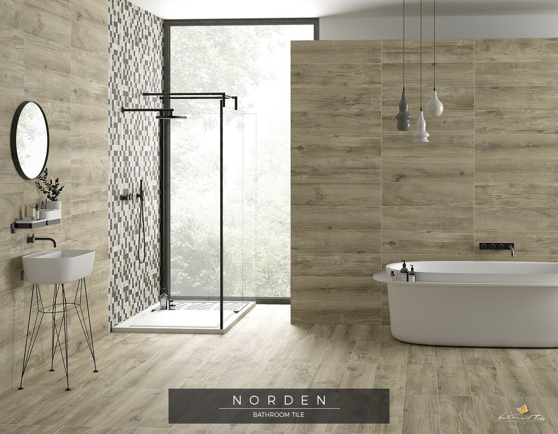 Nordic Style Bathroom Wood Look Tiles Wooden Floor In The Bathroom Wooden Tiles Bathroom Wooden Bathroom Floor Bathroom Wall Tile