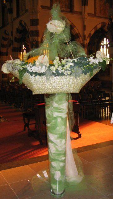 Bloemschikken voor Huwelijksboot. Meer originele bloemschikken en methodiek voor bladapplicatie vind je op gette.org.