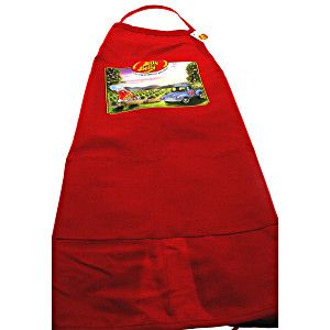 Durable red kitchen apron from Jelly Belly Candy Company. Polyester and  cotton blend. Colorful 797945428