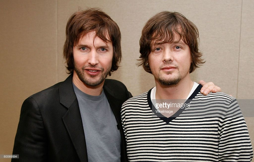 Singer James Blunt poses for photos with Declan Morrell, EMI Senior Vice President, East Coast Creative at EMI Music Publishing's new Chelsea offices on February 29, 2008 in New York City.