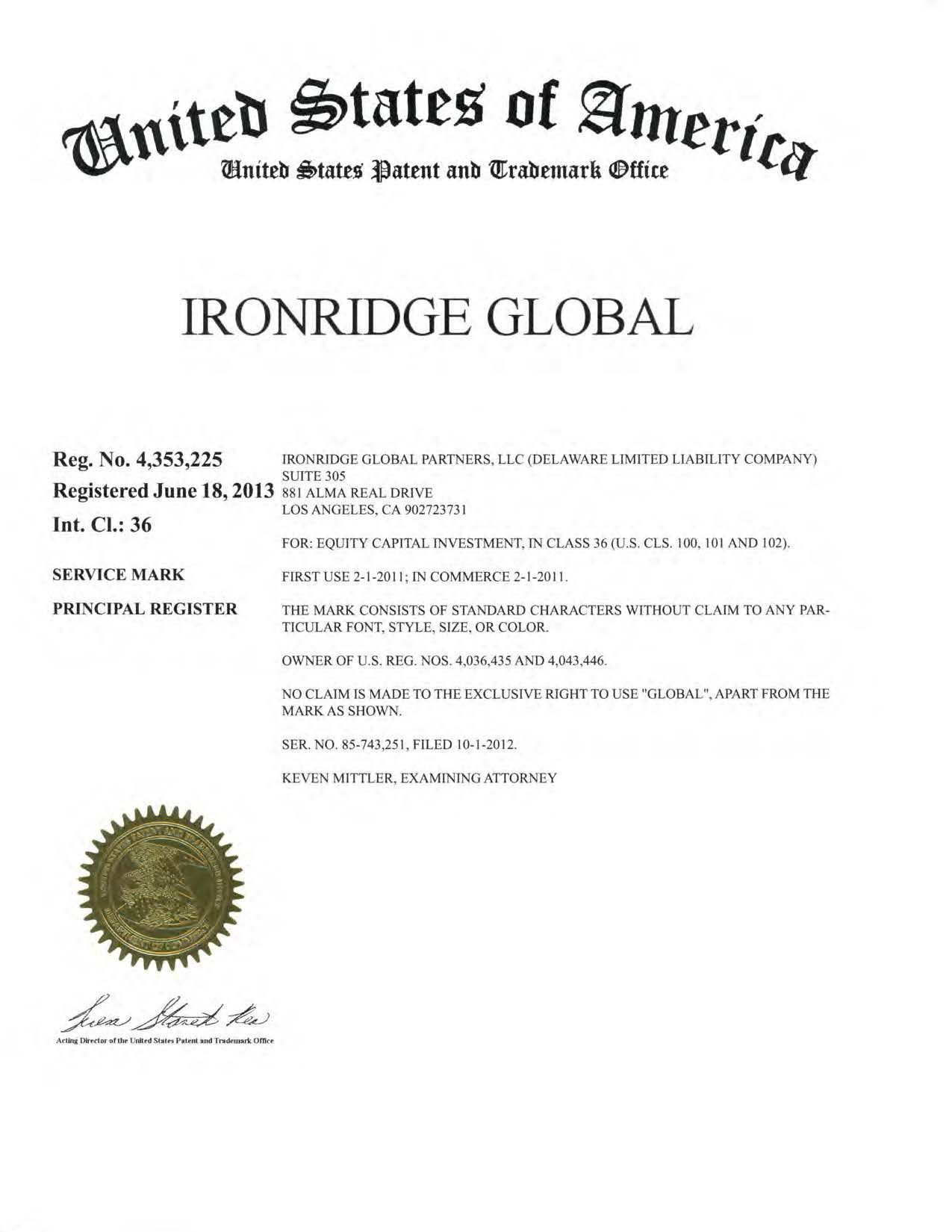 8 best ironridge global partners trademarks images on pinterest 8 best ironridge global partners trademarks images on pinterest trademark application trademark registration and certificate xflitez Image collections