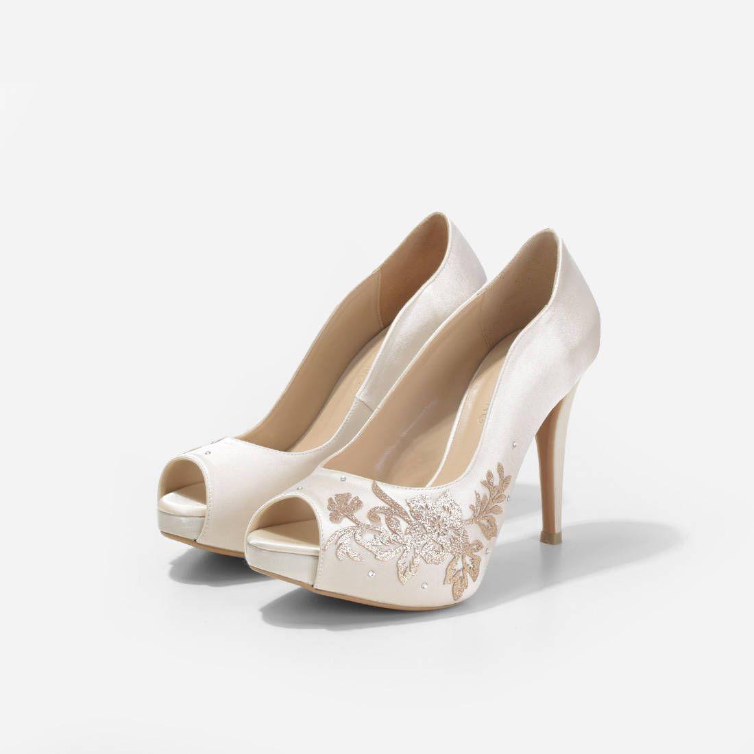 999276a74c5 Ariana Ivory Satin Wedding Heels