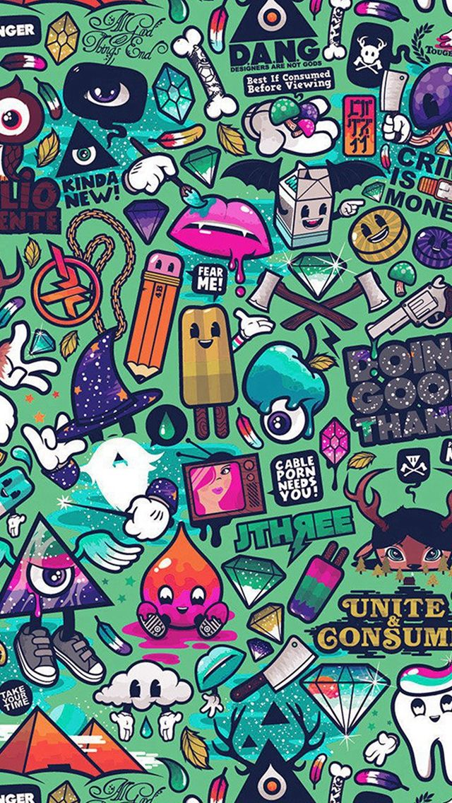 Art Work Pattern Illustration Graffiti Green IPhone 5s Wallpaper