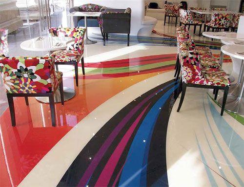 Epoxy Floors In Bohouse Cafe Match The Artsy Vibe Of The Restaurant Concrete Decor Epoxy Floor Concrete Decor Flooring