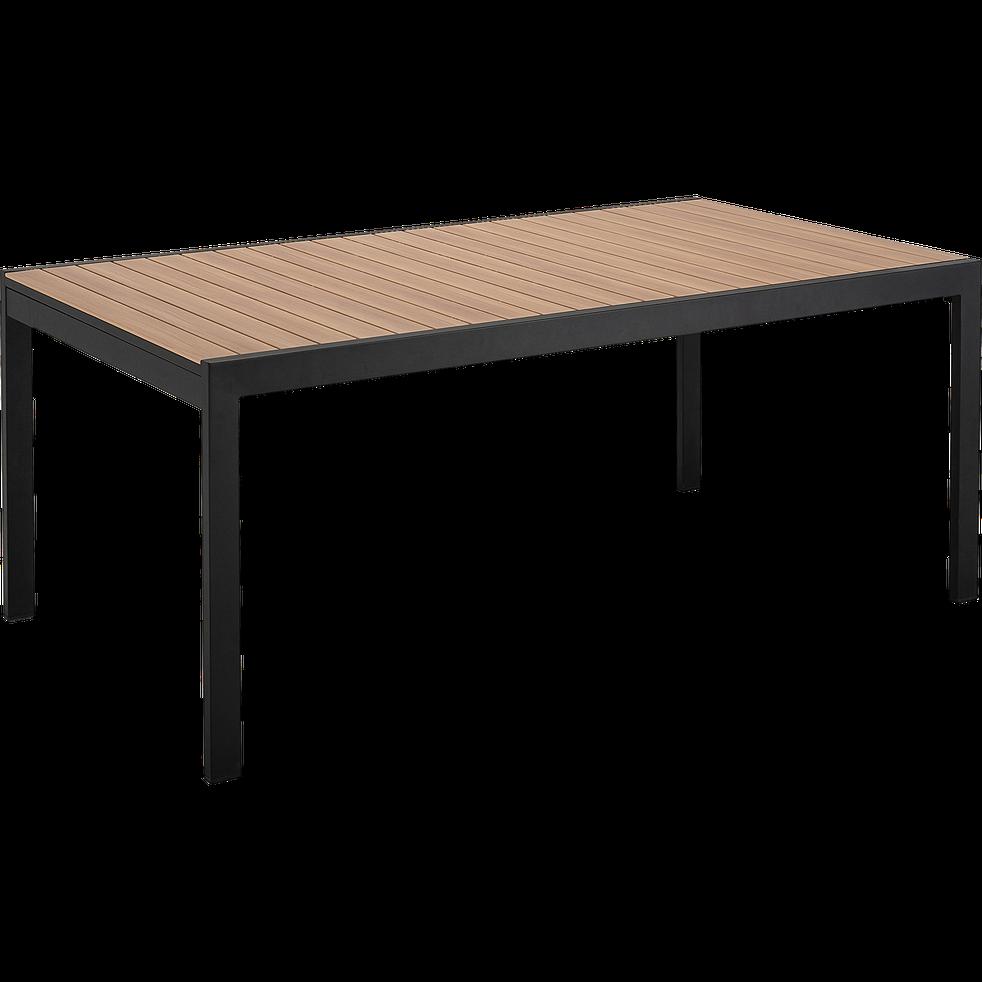 Table De Jardin Extensible En Aluminium Effet Teck Noir 8 A 12