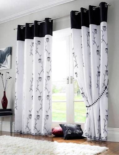 White Curtains With Black Flowers Black White Curtains Curtain