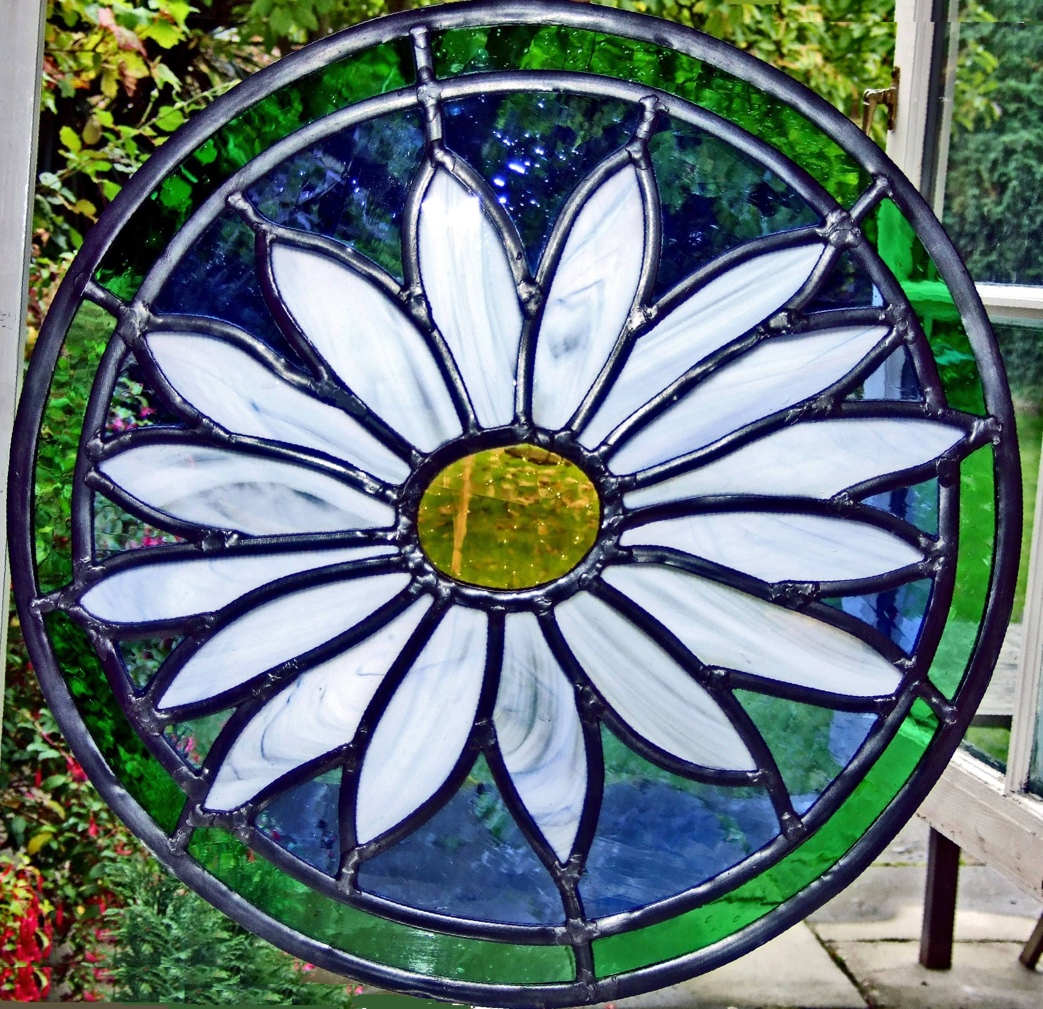 This Round Window Was Made For A Bristol House Using Opal Blue Streaky Glass Stained FlowersStained